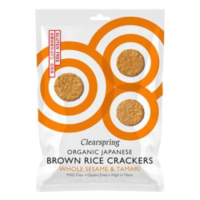 clearspring brown rice crackers brune ris kiks økologisk